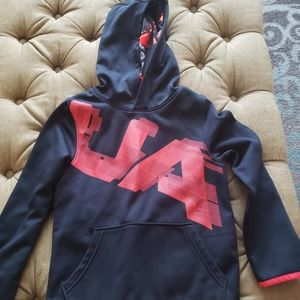 Boys Under Armour black and red hoodie
